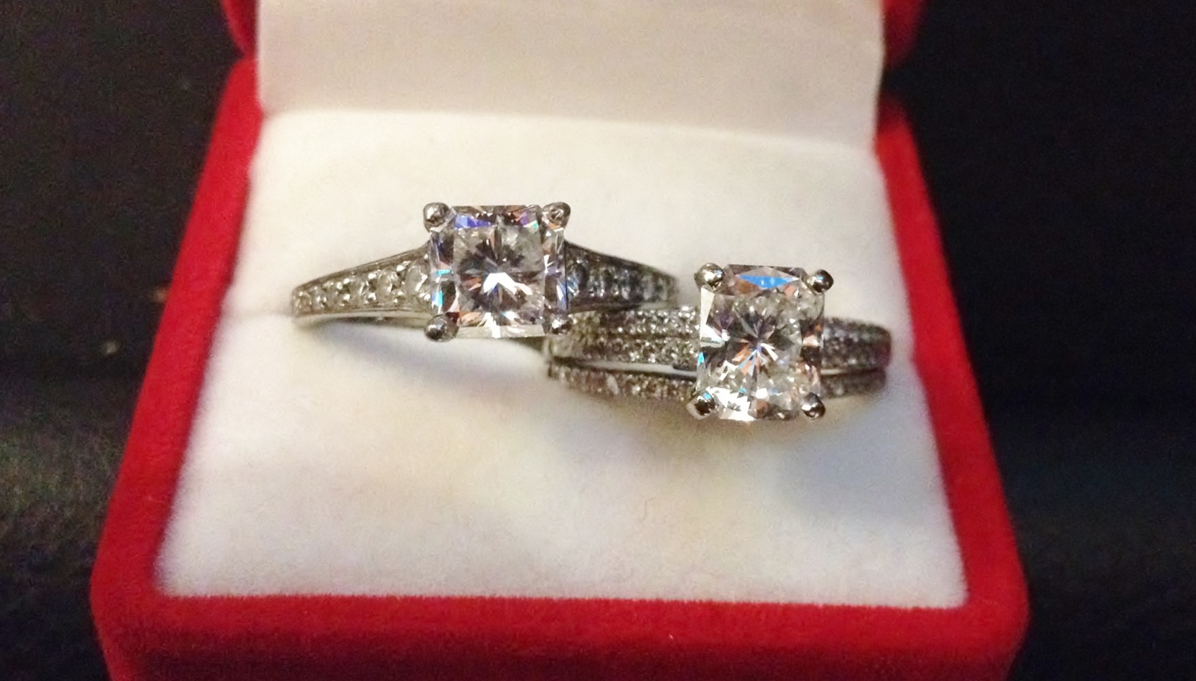 engagement wedding rings cushion diamond side halo rectangular view of large ring size cut cocktail baguette