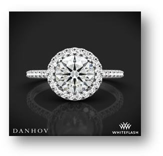 14K White Gold Danhov Per Lei Halo Diamond Engagement Ring