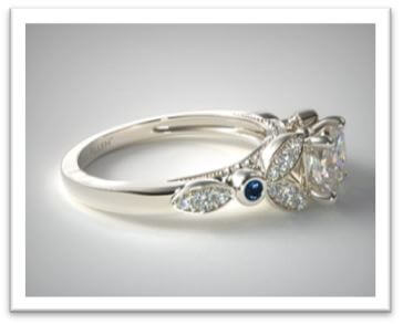 White Gold Floral Engagement Ring