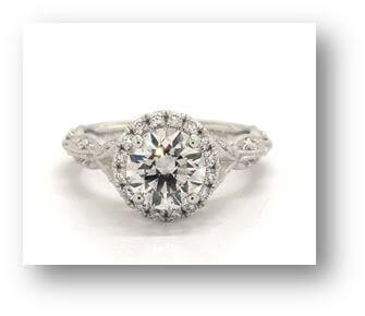 14K White Gold MilgrainNavette Halo Engagement Ring