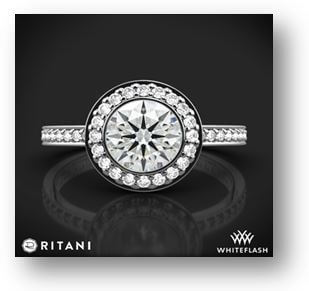 14K White Gold Ritani Vintage Halo Micropavé Halo Diamond Engagement Ring