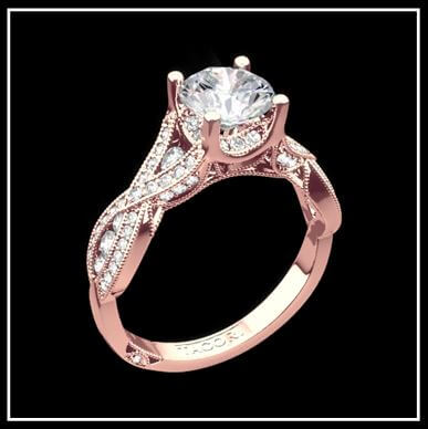 18K Rose Gold Tacori Ribbon Diamond Engagement Ring