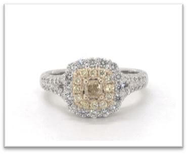 18K White Gold Cushion Halo Split Shank Fancy Yellow Diamond Ring