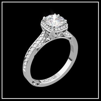 18K White Gold Tacori Dantela Crown Diamond Engagement Ring