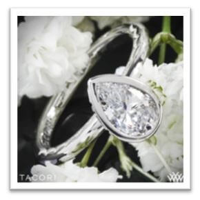 bezel set pear cut engagement ring