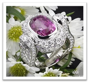 Antique Cushion Pink Sapphire set in Platinum