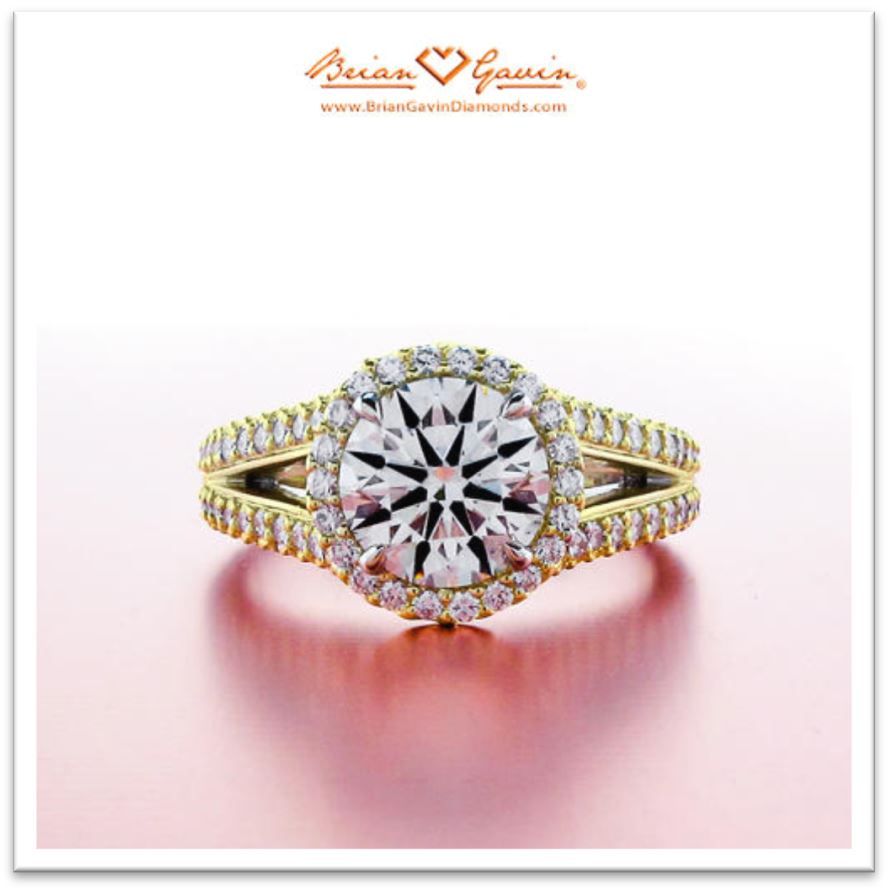 Excellent Cut Round Halo Engagement Ring