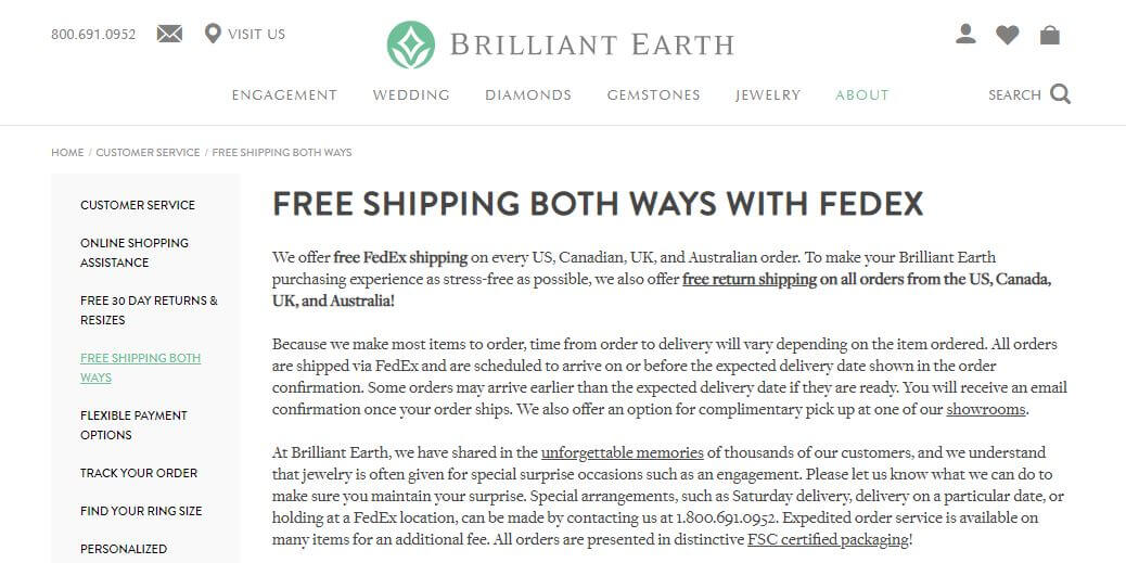 Brilliant Earth Free Shipping