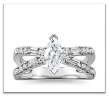 twist shank marquise engagement ring