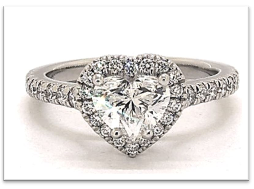 Heart Shape Halo Engagement Ring