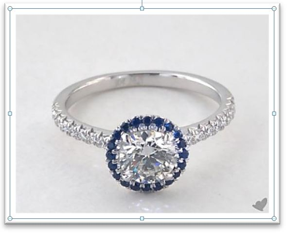 Sapphire Diamond Round Halo Engagement Ring