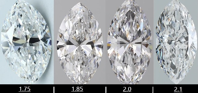 marquise cut diamonds ratio