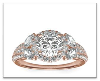 round rose gold halo engagement ring