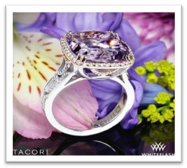 Tacori Blushing Rose Amethyst and Diamond Ring in Sterling Silver