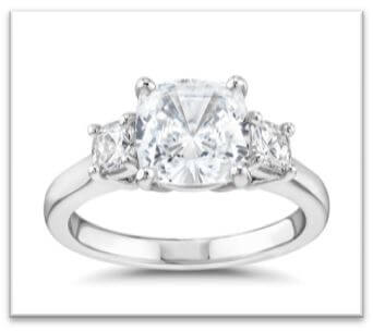 classic three stone princess cut engagement ring