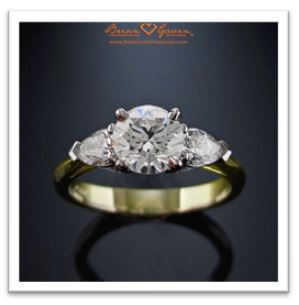 three stone pear cut engagement ring