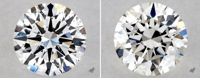 two diamonds 1.00 carat and 1.04 carat
